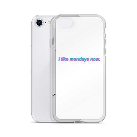 'i like mondays now.' iPhone Case (White)