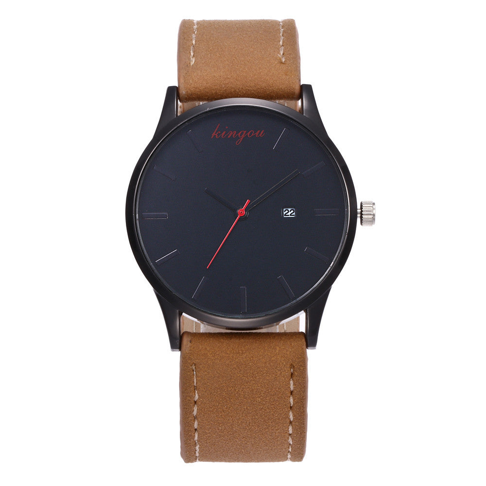 New Retro Date Clock Watch Quartz Leather Analog Wrist Watch
