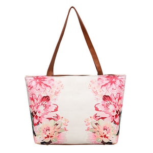 Women Leather Vintage Flower Painting Bag