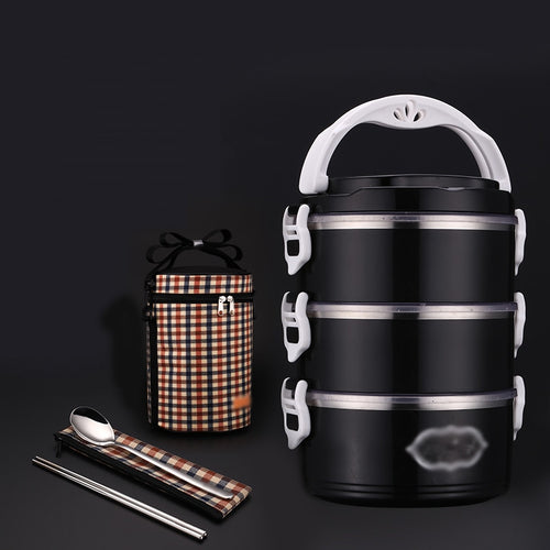 Black/White Leakproof Thermal Lunch Box Stainless Steel
