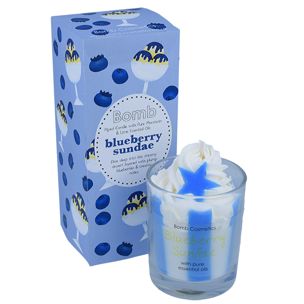 Blueberry Sundae Piped Glass Candle