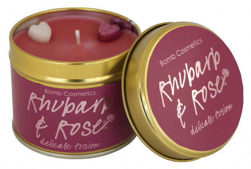 Rhubarb & Rose Tin Candle