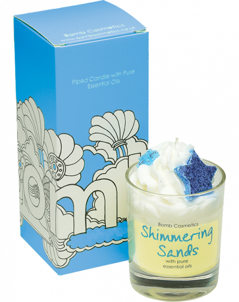 Shimmering Sands Piped Glass Candle