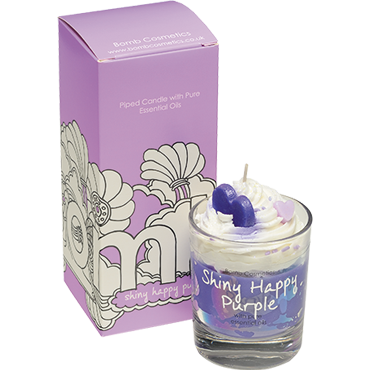 Shiny Happy Purple Piped Glass Candle