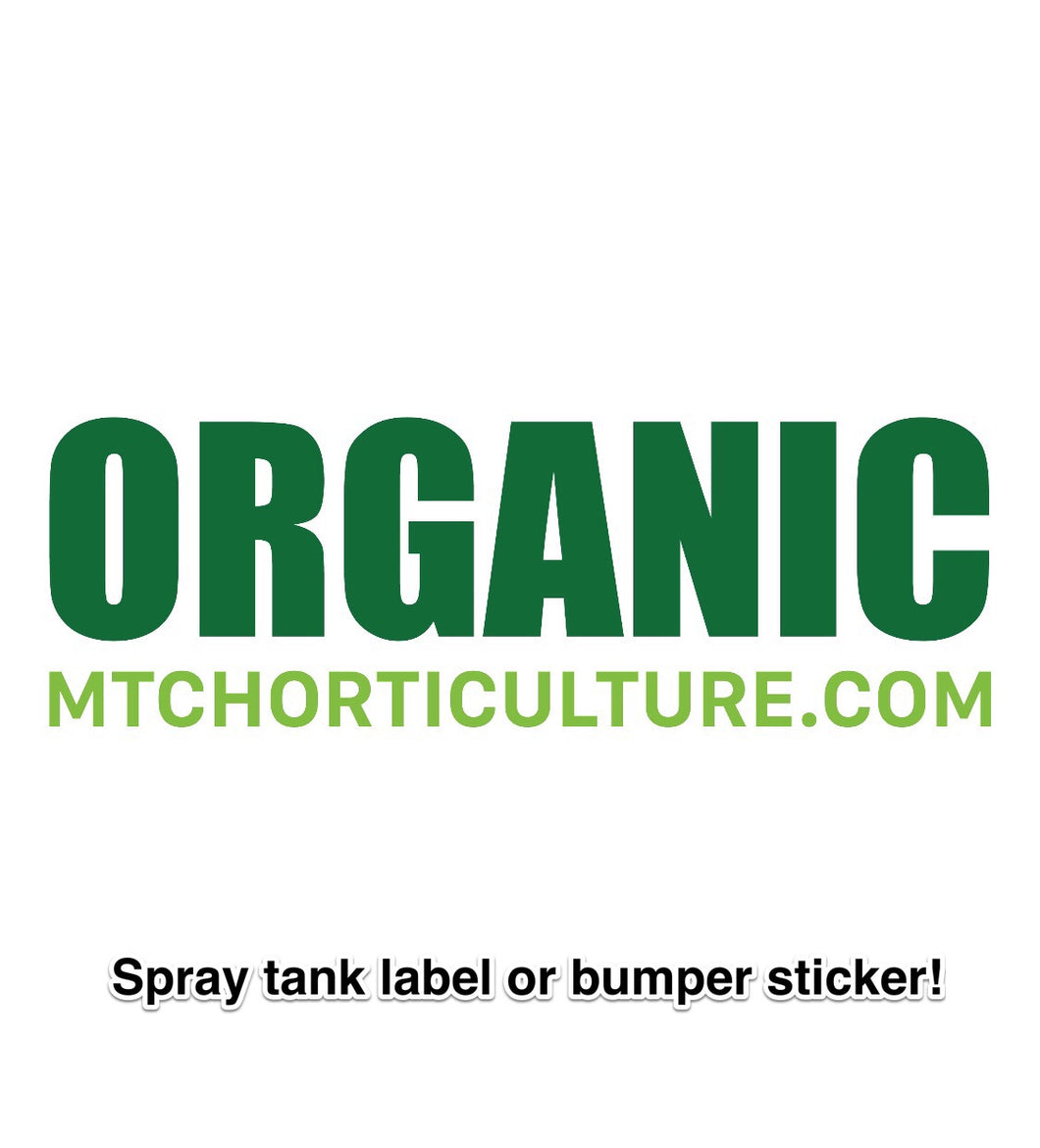 """ORGANIC"" Spray Tank Label"