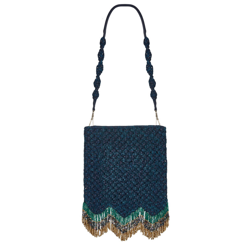 Naia Soul Beaded Midi Shoulder Bag Blue