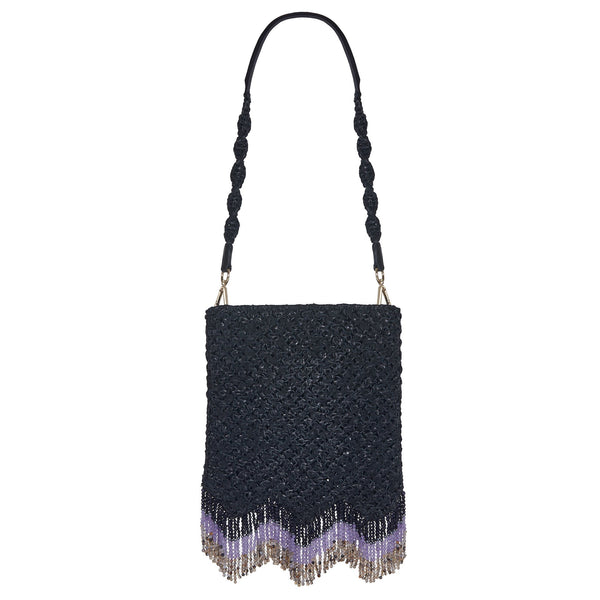 Naia Soul Beaded Midi Shoulder Bag Black