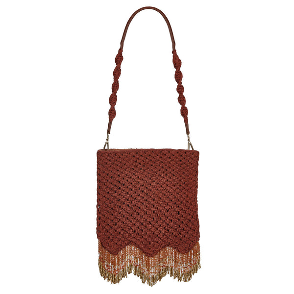 Naia Soul Beaded Midi Shoulder Bag Ginger