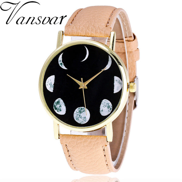 Watch Moon Patternlor Male And Female Strap Wrist Watch