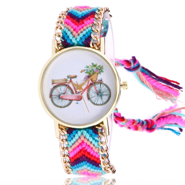 Women Map Knitted Weaved Rope Band Bracelet Quartz Dial Wrist Watch