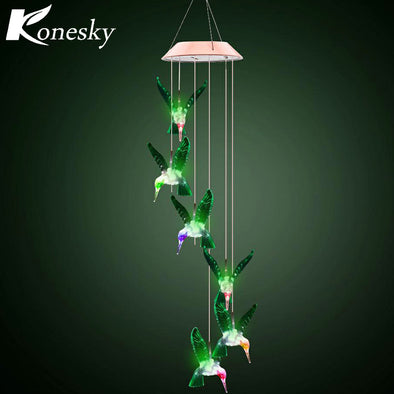 Hot Fashion Solar Color-Changing Wind Chime Light Led Solar Light Outdoor Hummingbird Wind Chimes Home Garden Decor Solar Light