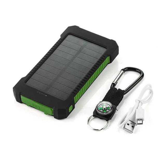 Top NEW Waterproof Solar Power Bank 10000mah Dual USB Li-Polymer Solar Battery Charger Travel Powerbank With a compass LED light