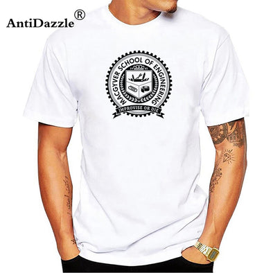 Antidazzle Macgyver School Gadgets Engineering Funny 80's ActionTV Show White T-Shirt Short Sleeves Cotton T Shirt Top Tee