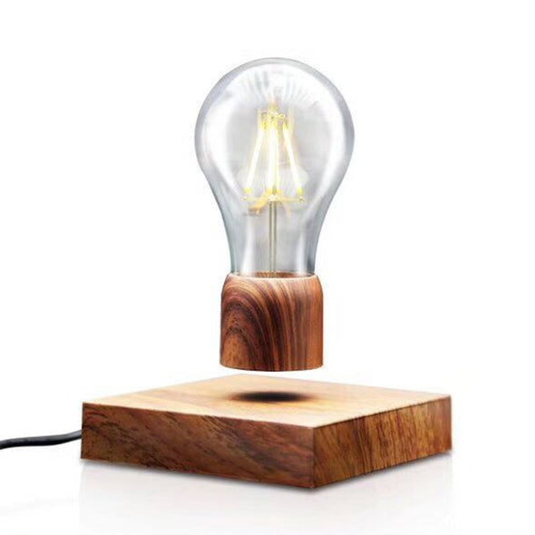 Magnetic Levitating Floating Lamp Light Bulb Desk Wood Grain Unique Gift Home Office Room Small Wedding Decoration