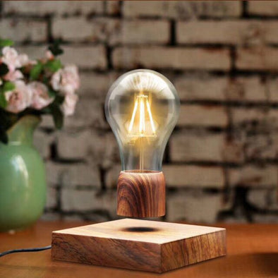 Wood Magnetic Levitating Floating Lamp Light Bulb Desk Grain Unique Gift Home Office Room Small Night Light Decoration