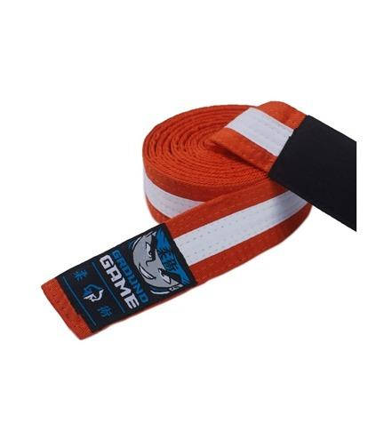 Ground Game BJJ Kids Belt Orange with White Stripe