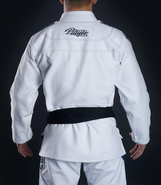 Back view of a Ground Game Player BJJ Gi White