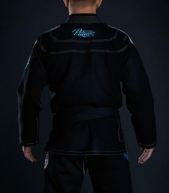 Back view of a Ground Game Player BJJ Gi Black