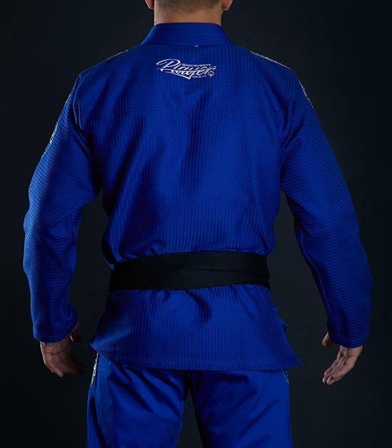 Back view of a Ground Game Player BJJ Gi Blue