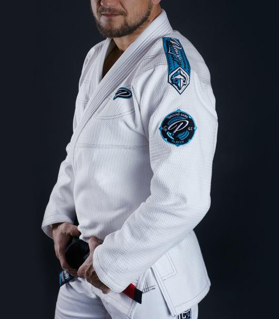 Side view of a Ground Game Player BJJ Gi White