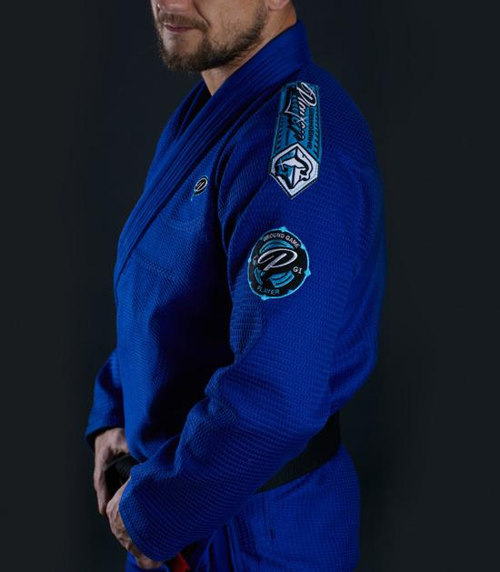 Side view of a Ground Game Player BJJ Gi Blue