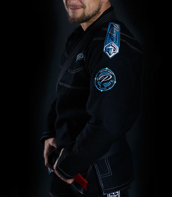 Side view of a Ground Game Player BJJ Gi Black