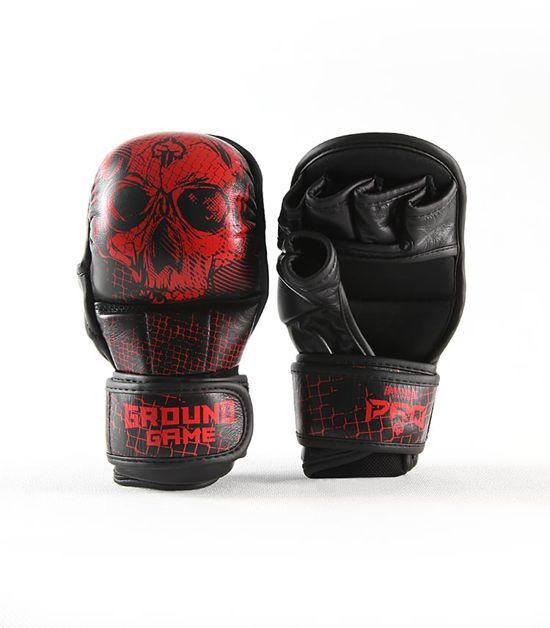 Front view of a Ground Game Red Skull MMA Sparing Gloves