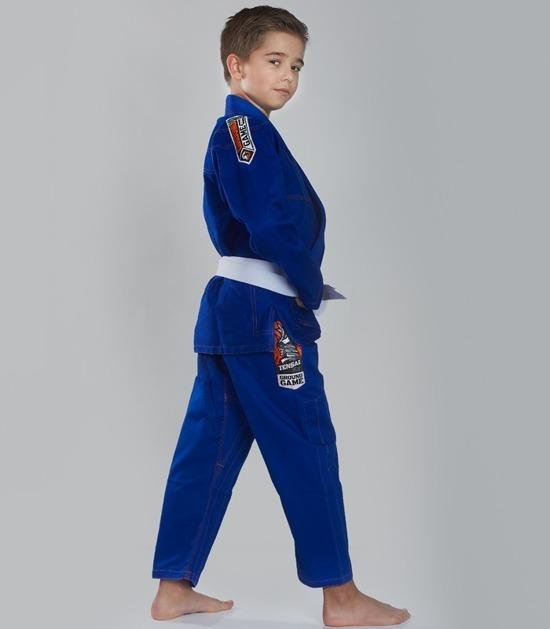 Back view of a Ground Game Tensai BJJ Kids Gi Blue