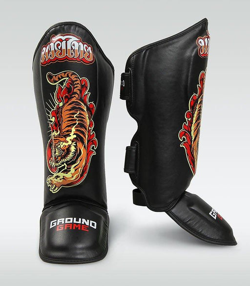 Ground Game Red Tiger Shin Guards