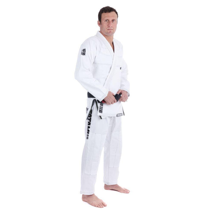 Tatami Essential BJJ Gi white front closeup side right