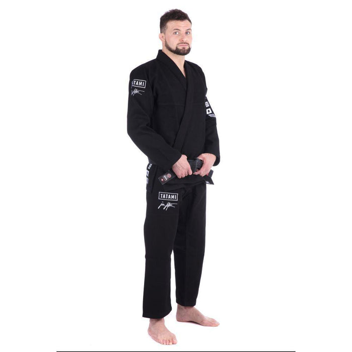 Tatami Signature BJJ Gi black front closeup side right