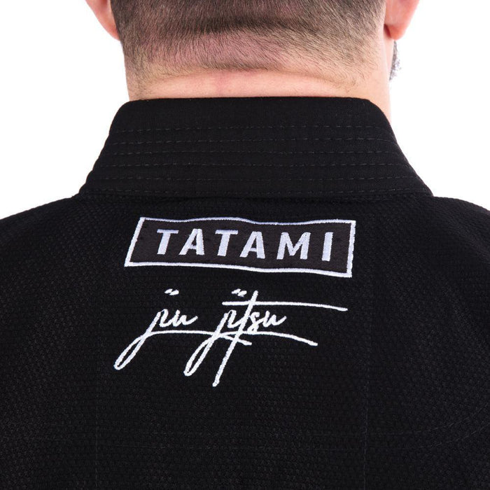 Tatami Signature BJJ Gi black back logo detail closeup