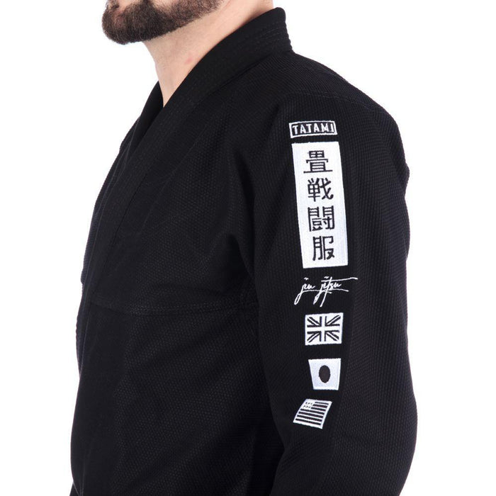 Tatami Signature BJJ Gi black front closeup side left sleeve patches