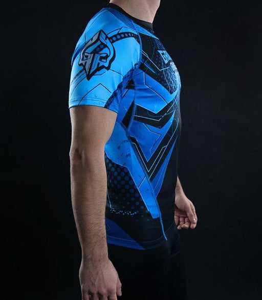 Side view of a Ground Game IBJJF Rank Rashguard Blue
