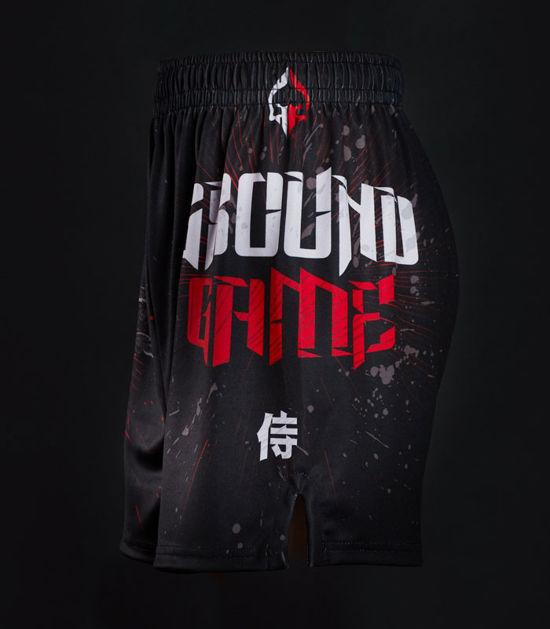 Side view of a Ground Game Samurai Mask Training Shorts