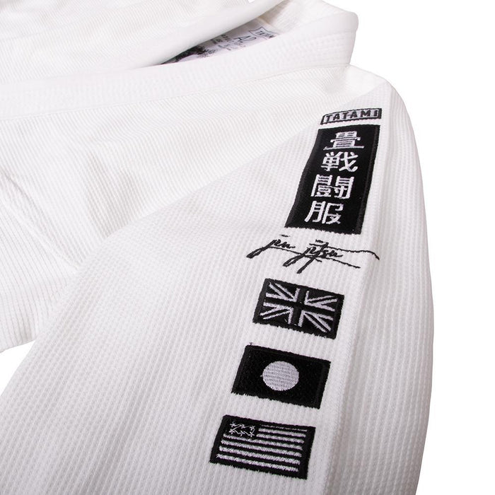 Tatami Signature BJJ Gi white front closeup sleeve left logo