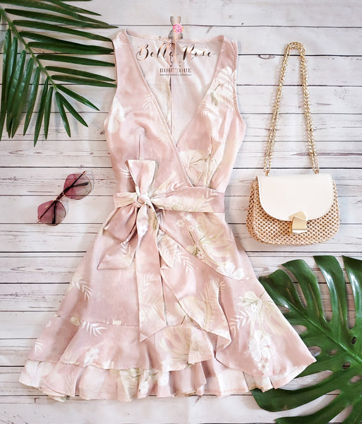 Alani Dress (Blush/Tropical Print)