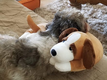 Load image into Gallery viewer, DOZY-Brown Dog Pillow w/White Paws