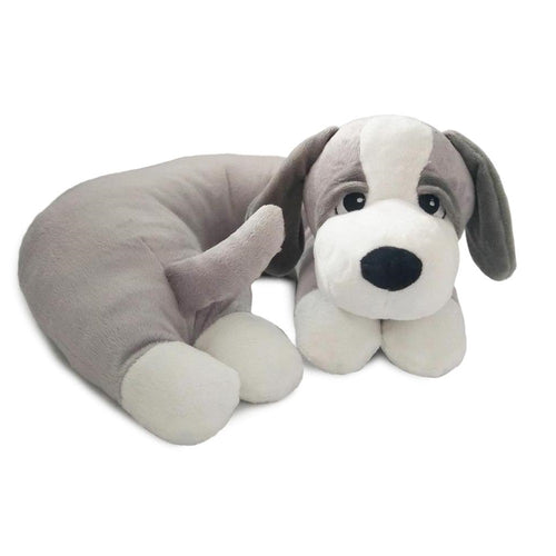SNOOZY-Grey Dog Pillow w/White Paws