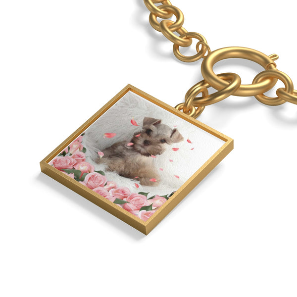 close up of gold square Custom Your Pet's Photo Chunky Chain Bracelet