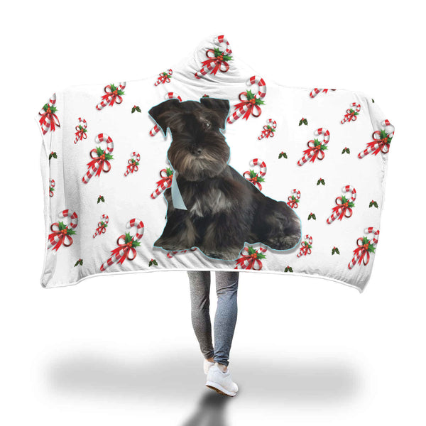 Custom Your Pet's Photo & Candy Canes Hooded Blanket