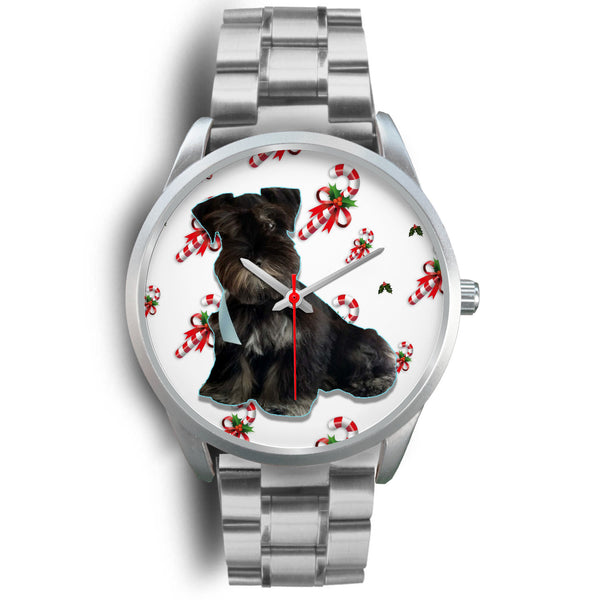 Custom Pet Picture & Candy Canes Holiday Silver Watch