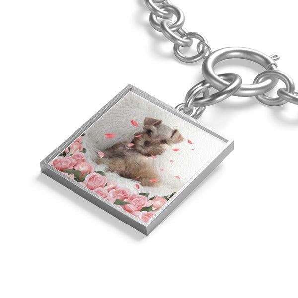 close up of silver square Custom Your Pet's Photo Chunky Chain Bracelet