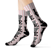 Load image into Gallery viewer, Schnauzer Love Pink Stripes Sublimation Socks