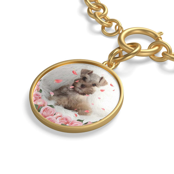 close up of gold Custom Your Pet's Photo Chunky Chain Bracelet
