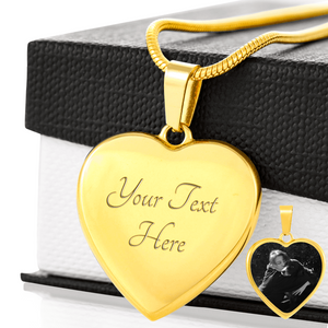 Gold heart shaped pendant with engraving and personal photo etched on heart pendant on gift box