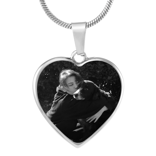 silver heart pendant with your photo etched on the heart