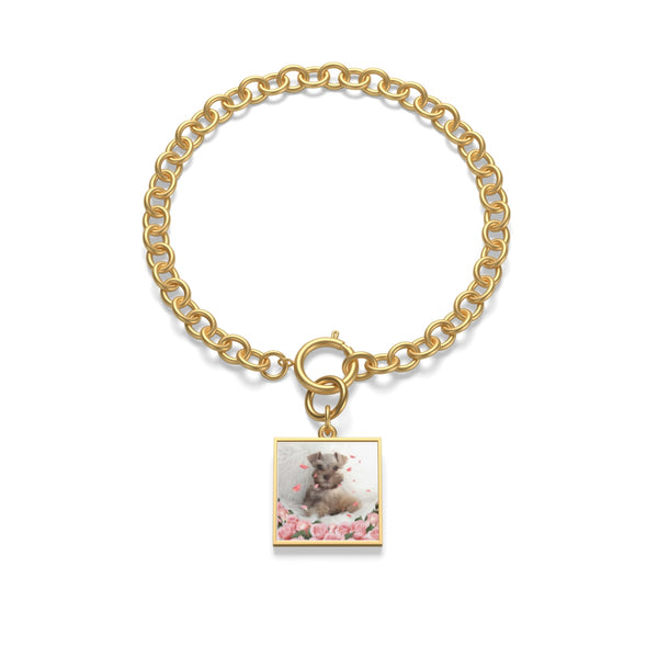 gold square shaped Custom Your Pet's Photo Chunky Chain Bracelet