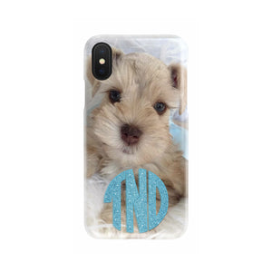 cute your puppy photo with blue glitter 3 letter monogram slim phone case