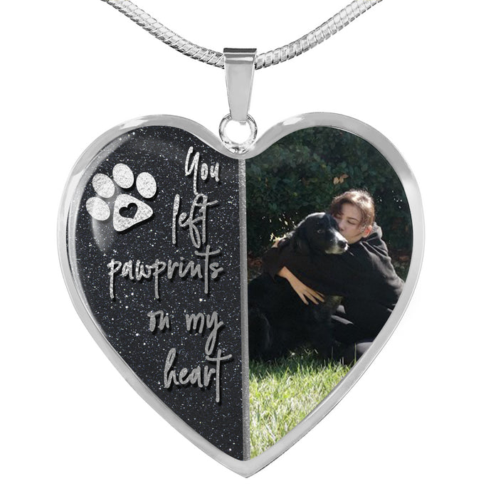 Pet Memorial Necklace - You Left Pawprints On My Heart